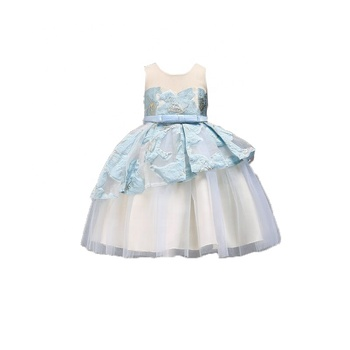 Girls'Dresses Mesh Gauze Peng Skirt New Jacquard Dresses Competition Banquet Performance Dresses 2064