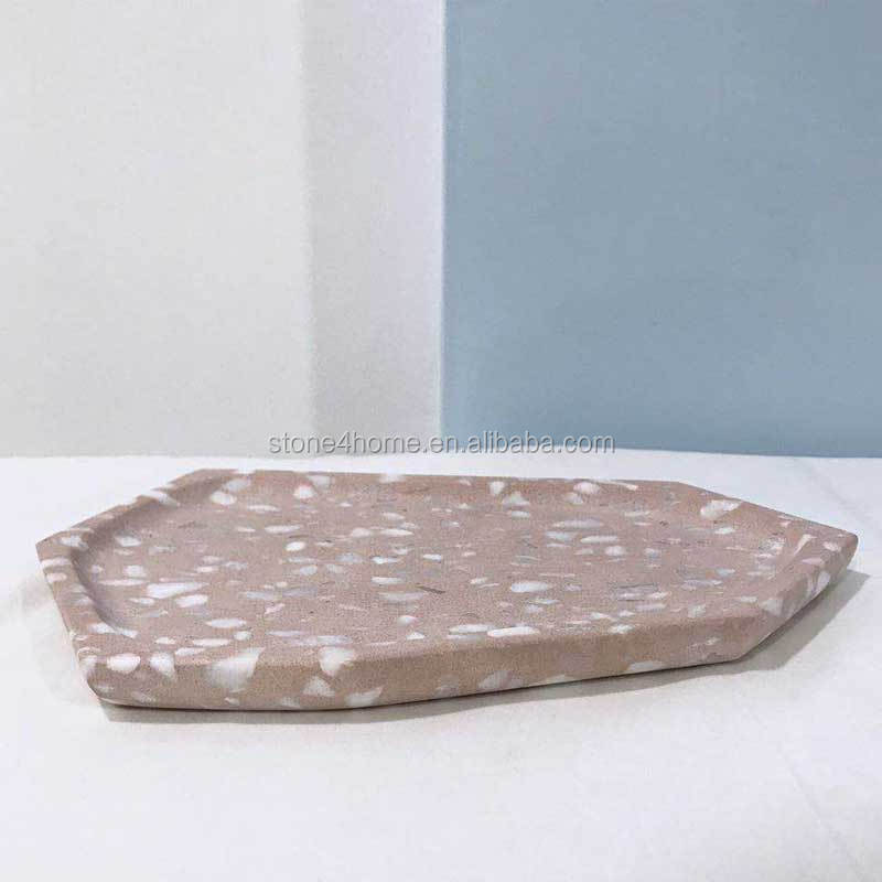 Natural stone rectangular Terrazzo serving tray kitchen appliance kitchen tool dinner plate stone tray stone plate terrazzo tray