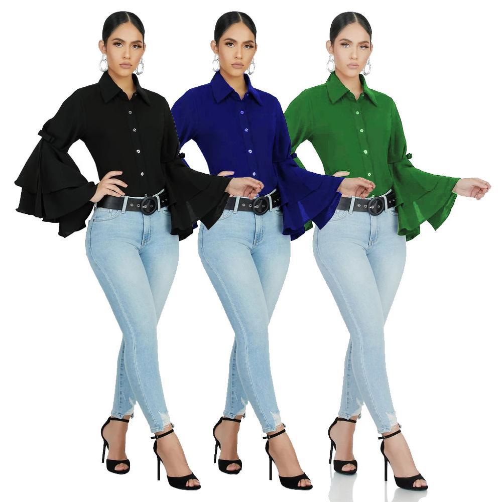 Wholesale Latest Fashion Casual Stylish Ruffle Long Sleeve Slim Fit Patchwork Shirts Chiffon Woman Blouse