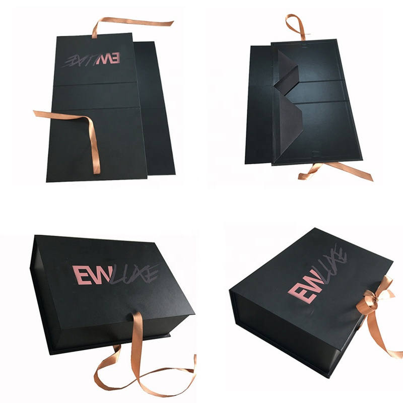 Custom Handmade Logo Recycled Cardboard Packaging Magnetic Closure Black Foldable Shoe Clothes Paper Gift Boxes