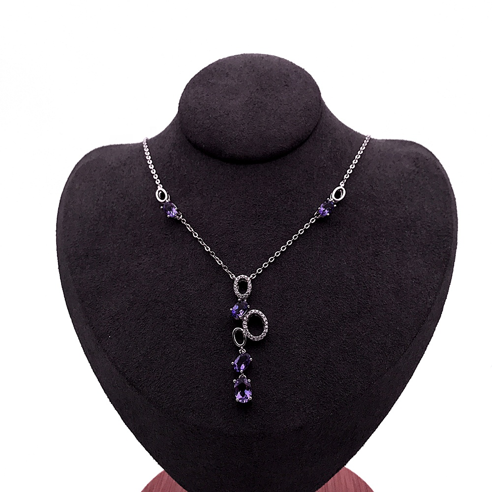 product-A String Of Bubbles Design Necklace, Oval Shape Violet Gemstones Silver Jewelry Female-BEYAL
