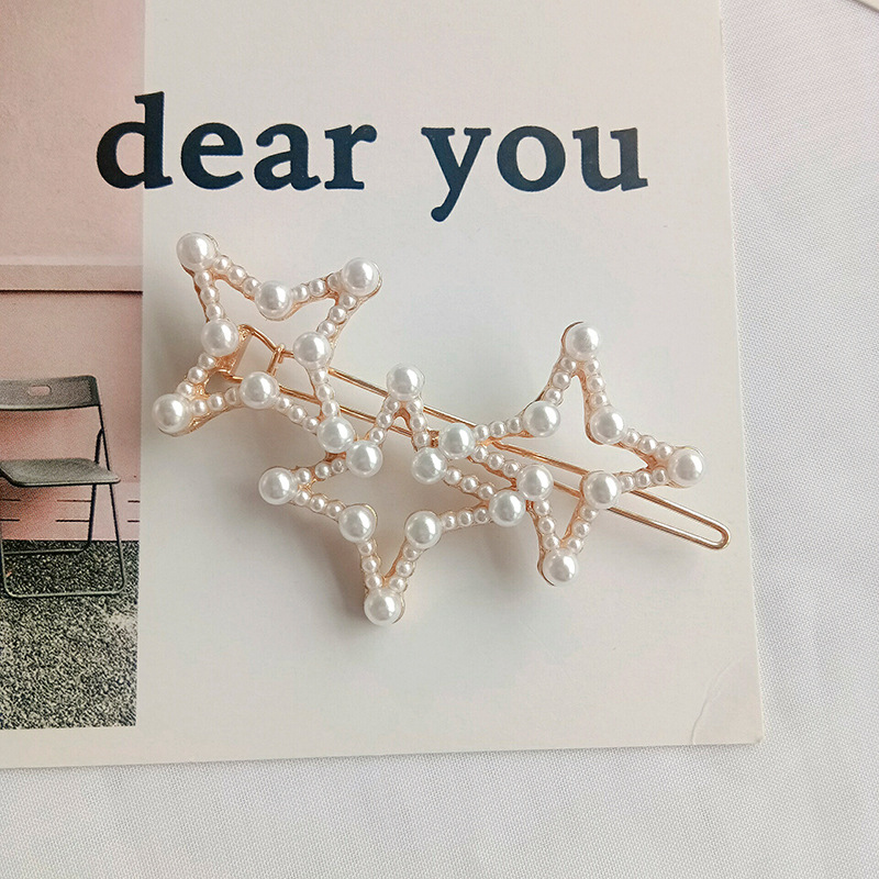 Classical style fairy pearl hairpin love star geometry hairpin frog clip side clip female hair accessories