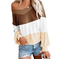 autumn new fashion clothes v neck off shoulder sexy sweater for women oversize spliced casual t-shirts