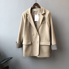 Осенние женские блейзеры 2020 новая Корейская версия контрастный клетчатый рукав двубортный однотонный костюм куртка Офисная Леди(Китай)