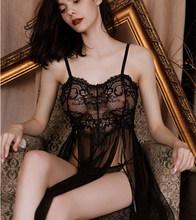 Женская ночная сорочка, пижама с длинным разрезом и сеткой, домашняя одежда, кружевное женское белье, сексуальная ночная сорочка, Babydoll, хала...(Китай)
