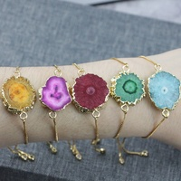 LS-D1390 Beautiful Druzy Solar Quartz Stone Chain Bracelet