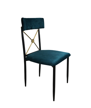 Black Stainless Steel X Back Peacock Velvet Dining Chair For Event Party