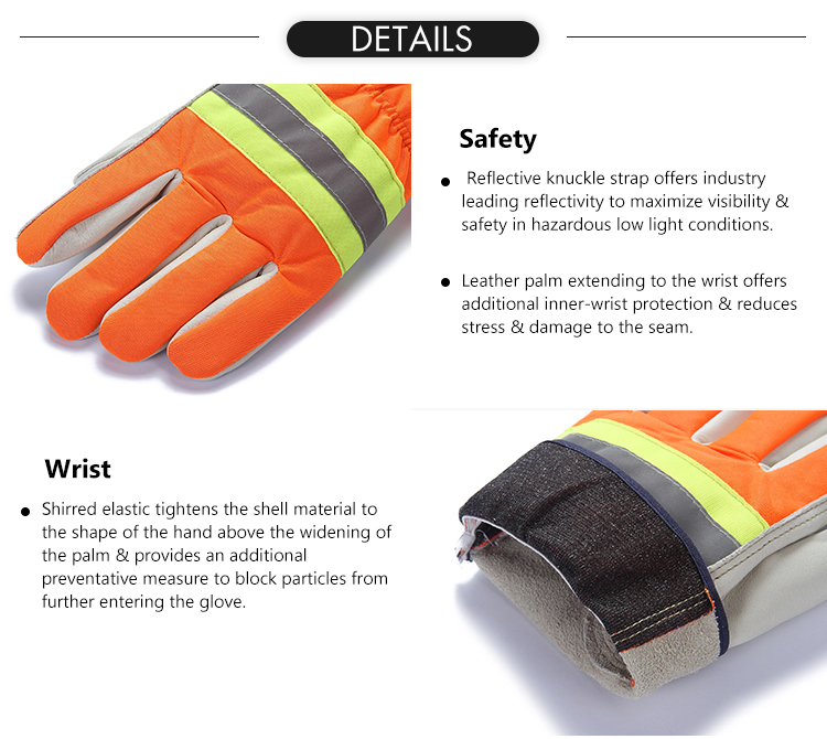 Cheap orange top cow grain leather reflective strap hi-vis safety heavy duty work glove