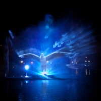 Outdoor Multimedia Laser 3D Water Curtain Moving Water Fountain Movie With Projector