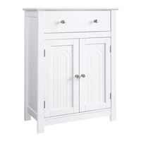 VASAGLE Free Standing Bathroom Cabinet with Drawer, 23.6 x 11.8 x 31.5 Inches White Cupboard Wooden Chest Storage Cabinet