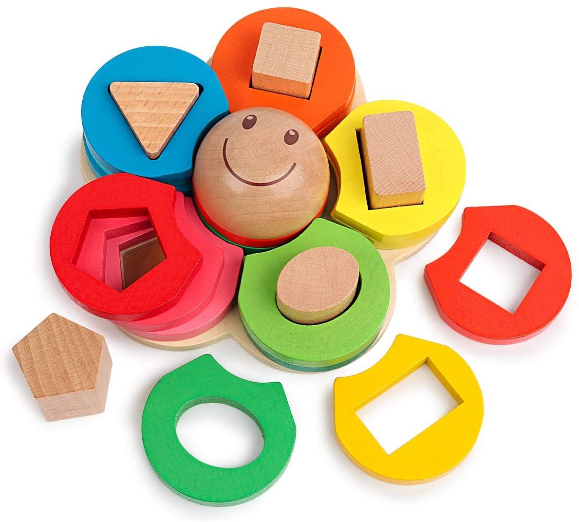 Holz Pädagogisches Spielzeug für Kleinkinder Vorschule Form Farbe Sortierung Stapeln Geometrische Bord Blöcke Puzzle Montessori Spielzeug