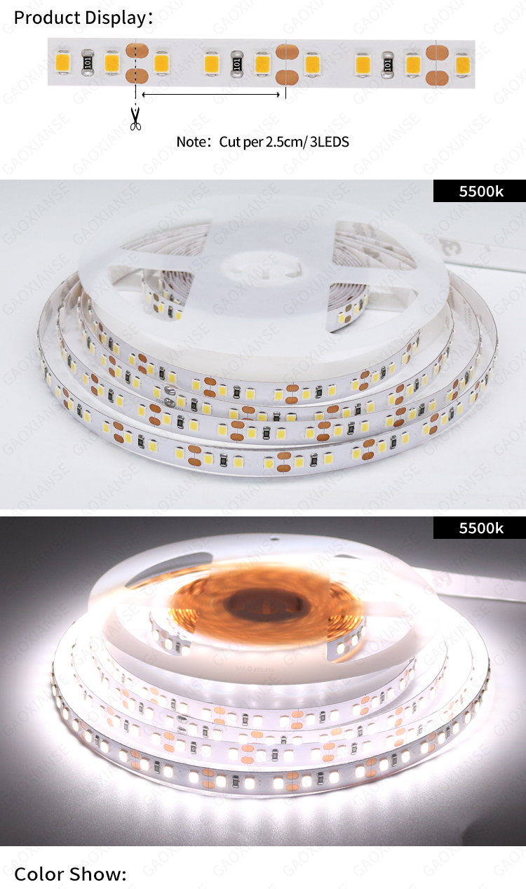 12V 2835 120LED/M 8MM IP20 IP33 white 5500K CRI90 CRI95 CRI97 CRI98  LED+Strip+Lights flexible led sheets