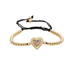 Hollow Love Heart Bracelet Colorful Micro Paved CZ