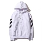 Wholesale Men OW Custom Hoodie Men Black Hoodie Adult White Hooded Sweatshirt White