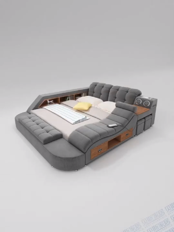 Customizable multifunction storage bed with massage music design of leather bed solid wood frame tatami factory wholesale