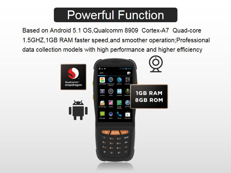 Android 5.1 Touch Screen Handheld PDA Barcode Scanner POS terminal with NFC/RFID QR code scanner 4G WIFI Bluetooth
