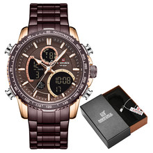 Новинка 2020, часы NAVIFORCE, модные роскошные аналоговые цифровые часы с двойным дисплеем, мужские часы, повседневные спортивные наручные часы, ...(Китай)