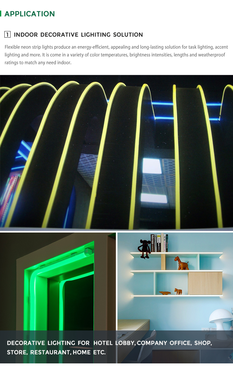 JS SMART LED Outlet Neon Light Strip Top Bending DC 24V 16mm Width Luz Neon Led Strip Light SMD 3528 Led Neon Flex IP68
