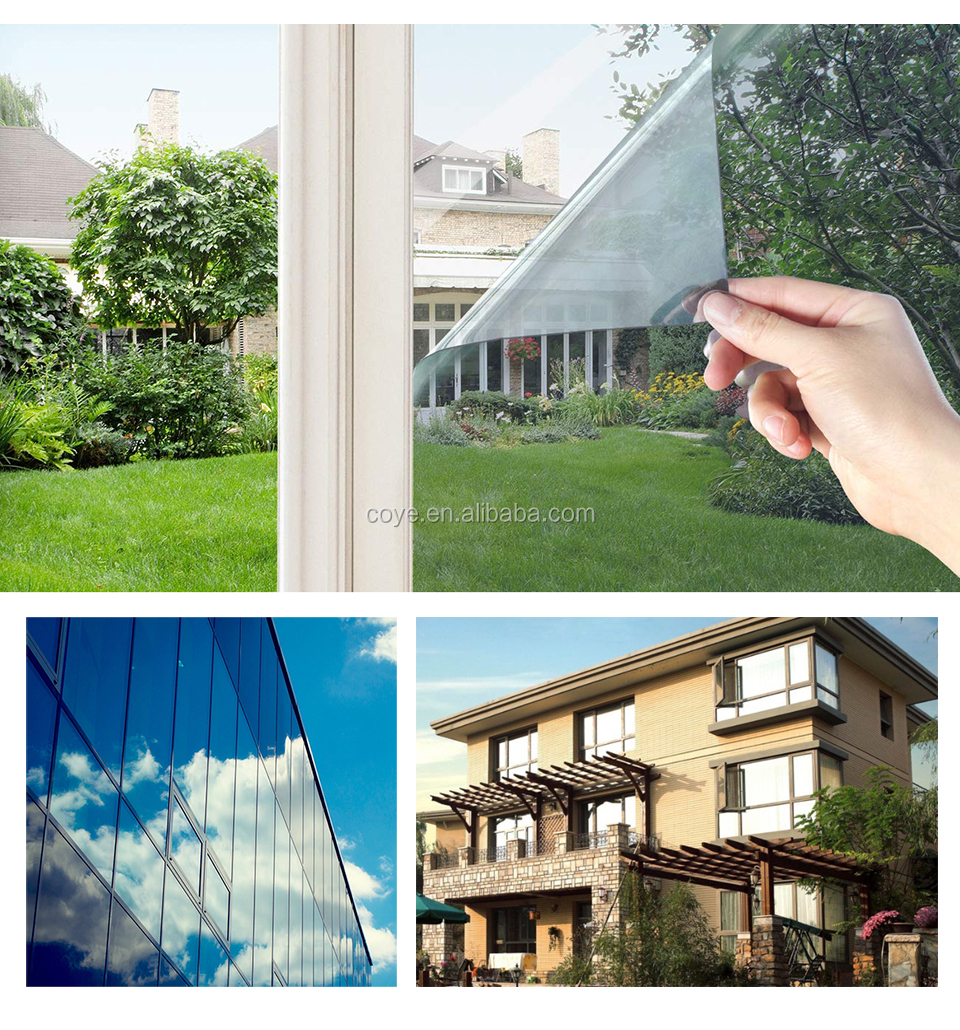 One Way Mirror Film Privacy Self Adhesive Residential DIY Window Film Heat Control Glare Control Anti UV Window Tint for Office