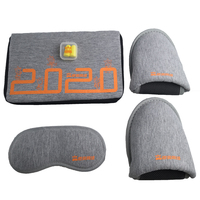 Custom Printing Gray Zipper Bag Travel Sleep Sets