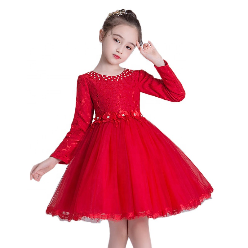 Latest <strong>design</strong> <strong>girls</strong> red lace party dress flower <strong>girls</strong> long sleeve dress