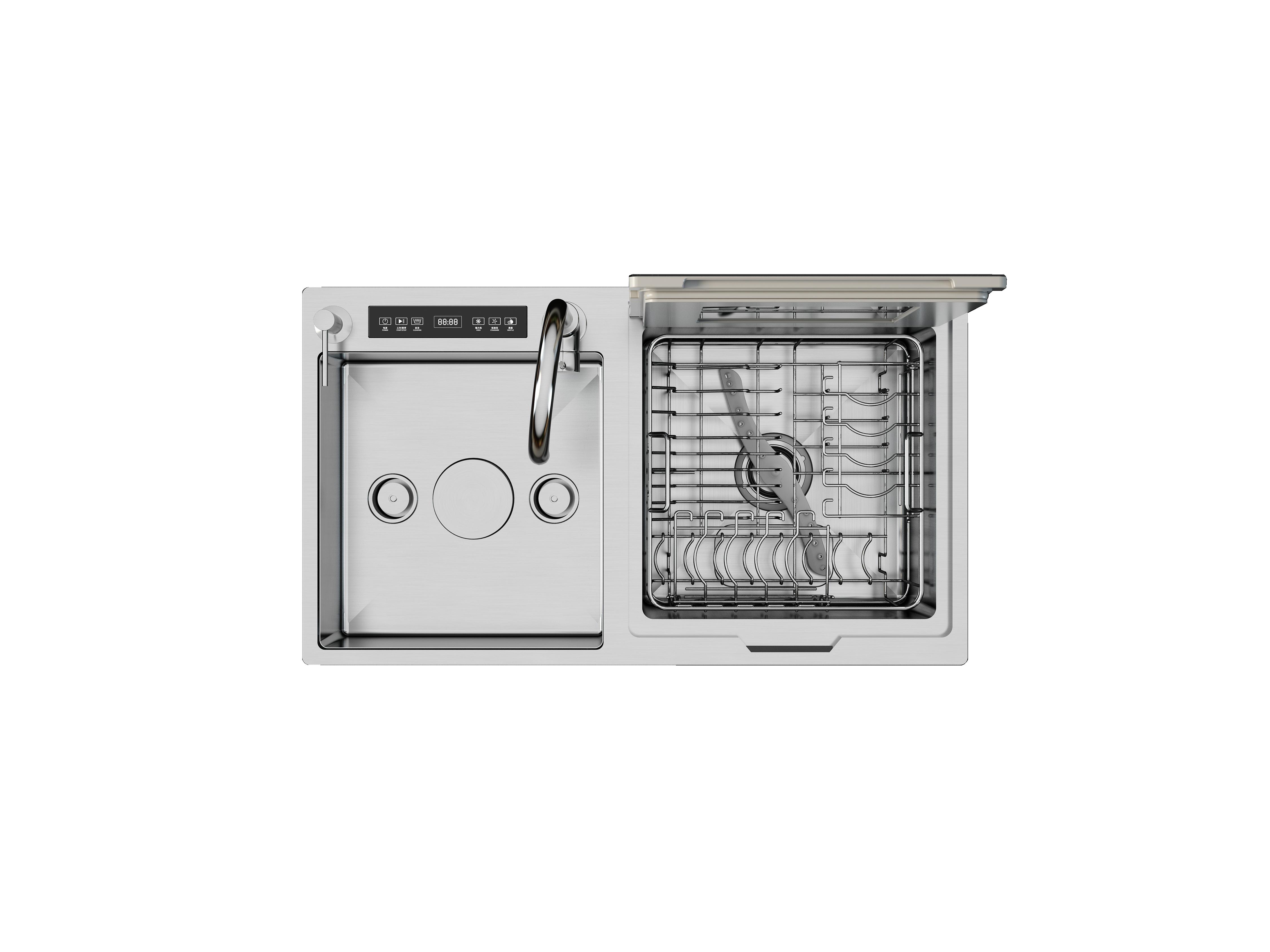 Meiao Malaysia style automatic dishwashers stainless steel sink washing dish machine smart countertop dishwasher