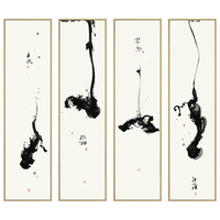 4 pane traditional chinese abstract decorative painting modern black and white wall art giclee prints