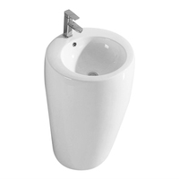 Economic Ceramic washbasin stand bathrooms round ceramic one piece pedestal basin