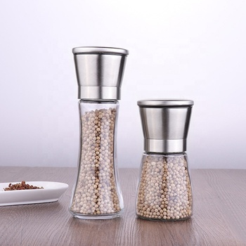 Promotion Kitchen Mills FDA Glass Stainless Steel Spice Tools Grinder Salt Pepper Grinder