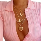 Women Punk Gold Plated Layered Necklace Set Vintage Pyramid Ancient Egyptian Pharaoh Leaf Cross Heart Necklace