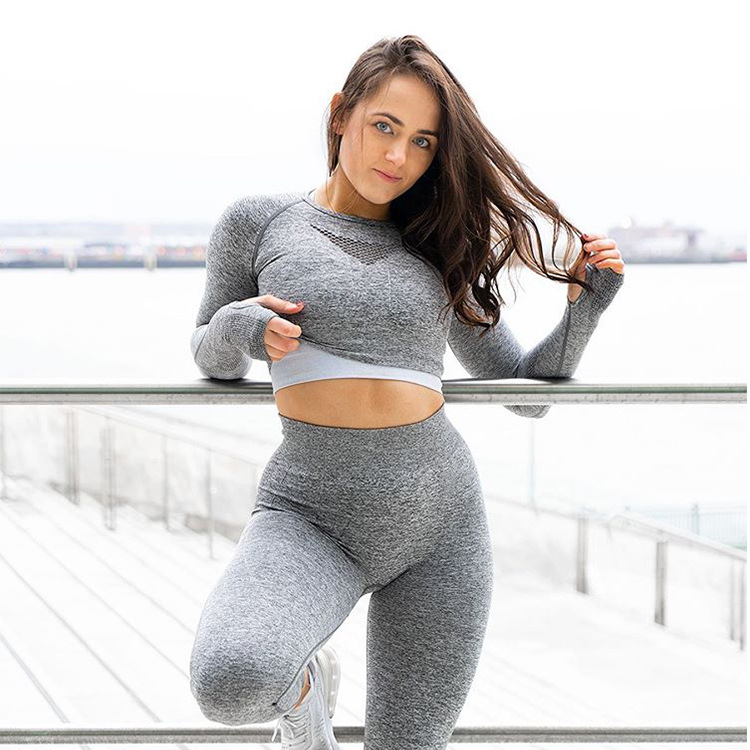 Ribbed Seamless Yoga Set Sport Suit Workout Clothes for Women Long Sleeve Gym Crop Top High Waist Leggings Fitness Set