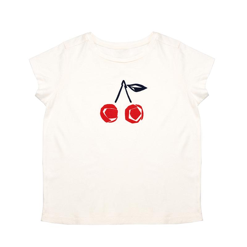 थोक 2020 Summerl नवीनतम लड़कियों सफेद कपास चेरी मुद्रित टी शर्ट लघु आस्तीन नरम प्यारा शैली Age2-15Y