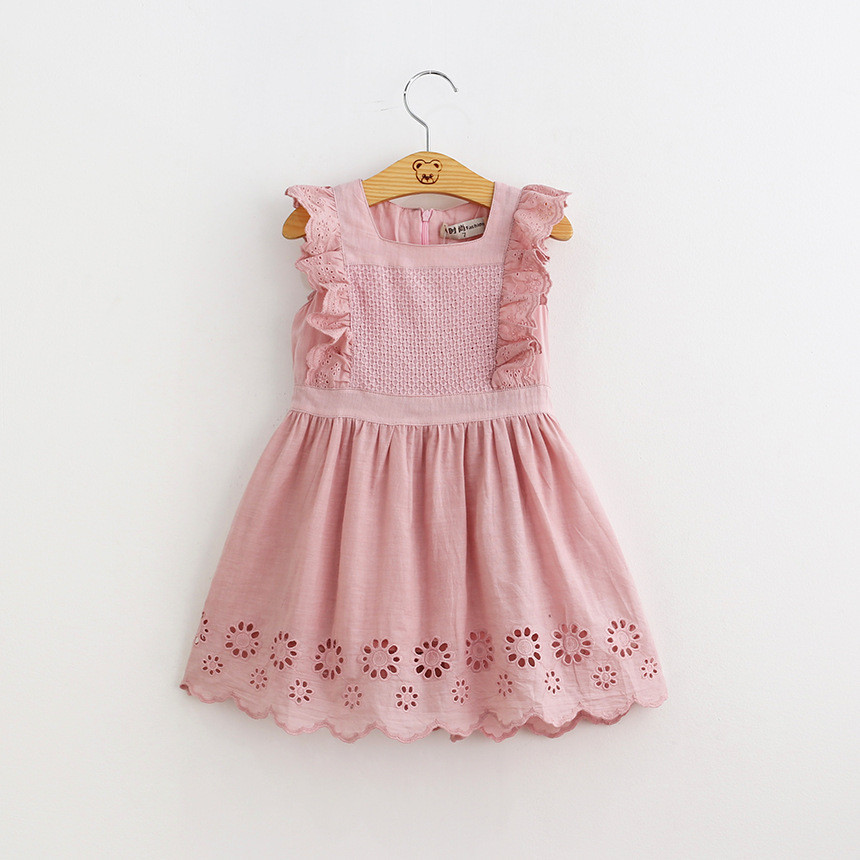 2020 Summer <strong>Baby</strong> Girls Birthday Party Dress Toddler <strong>Baby</strong> <strong>Cotton</strong> <strong>Frock</strong> Design Pink Dress 2-6Years Old Kids Clothes