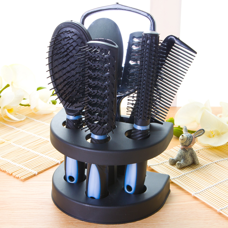 5 Pcs Hair Comb Set Professional Salon Styler Hair Brushes Gift Set Tool with Mirror And Holder Stand - Hair Care Massage Brush