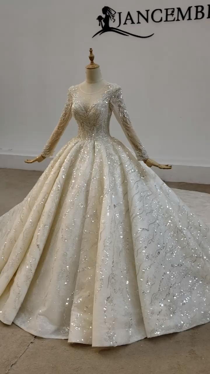 Jancember HTL1632-1 럭셔리 민소매 스팽글 페르시 섹시한 디자이너 진짜 웨딩 드레스