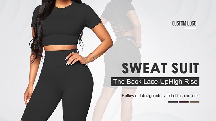 Logotipo personalizado de cintura alta deporte de dos piezas Mujer Deporte fitness ropa de yoga de gimnasio