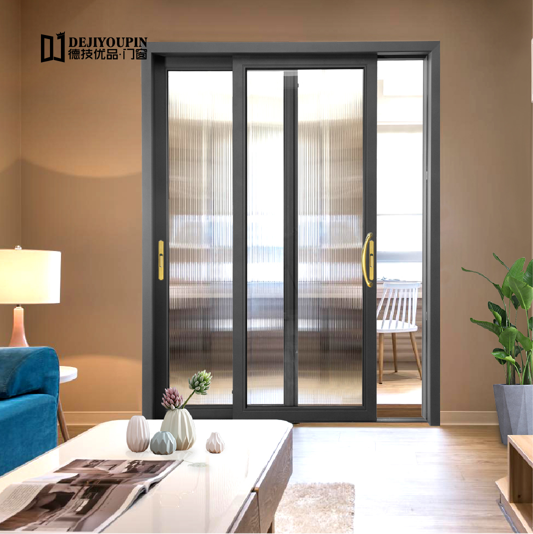 Low MOQ Foshan D100A interior living room aluminum frame glass sliding patio doors with built in blinds and shades