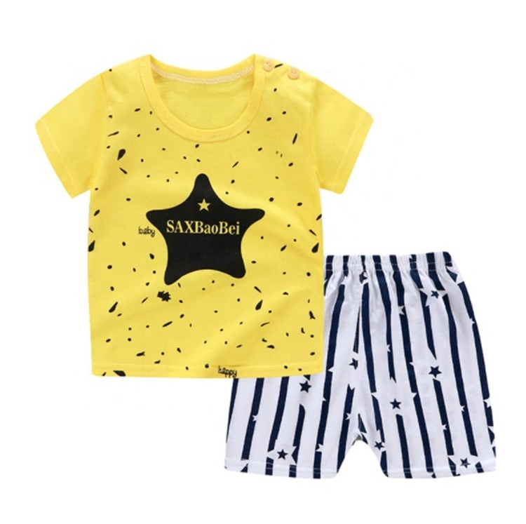 Factory wholesale summer kids clothing sets boys 100% cotton fashion kid clothes baby clothes casual fashion