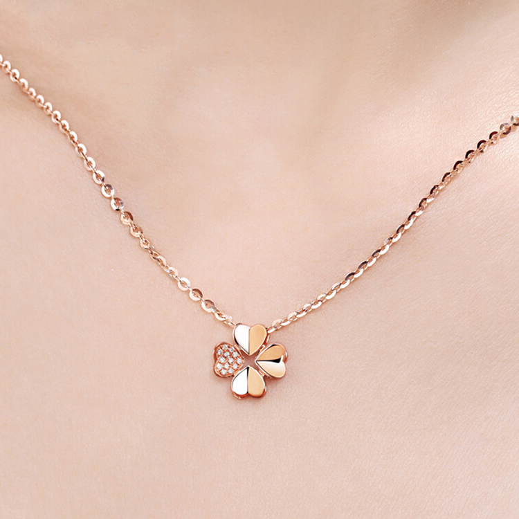 product-925 Sterling Silver Four Leaf Clover Chain Necklace Gold Plated-BEYALY-img