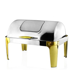 Newest Item 8-Quart Buffet Food Warmer Luxury Gold Roll Top Stainless Steel Chafing Dishes For Sale