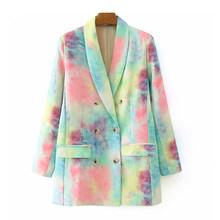 [DEAT] женский двубортный блейзер с галстуком-краской, новая свободная куртка с отворотом и длинными рукавами, модная демисезонная куртка 2020 ...(Китай)
