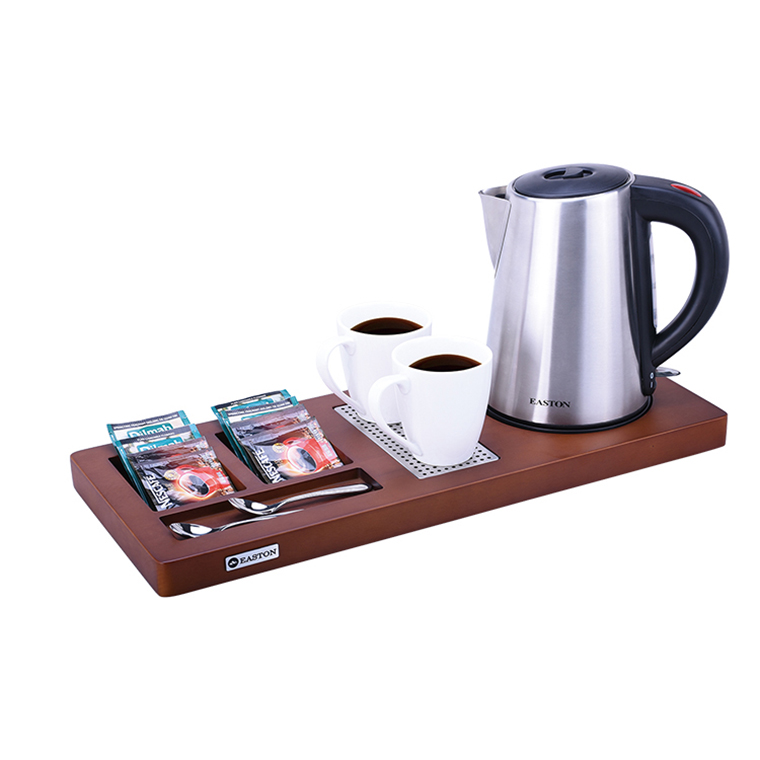 China Hotel Hospitality supplier Stainless steel kettle wood tray thermostat secura durable hotel water kettle with tray set