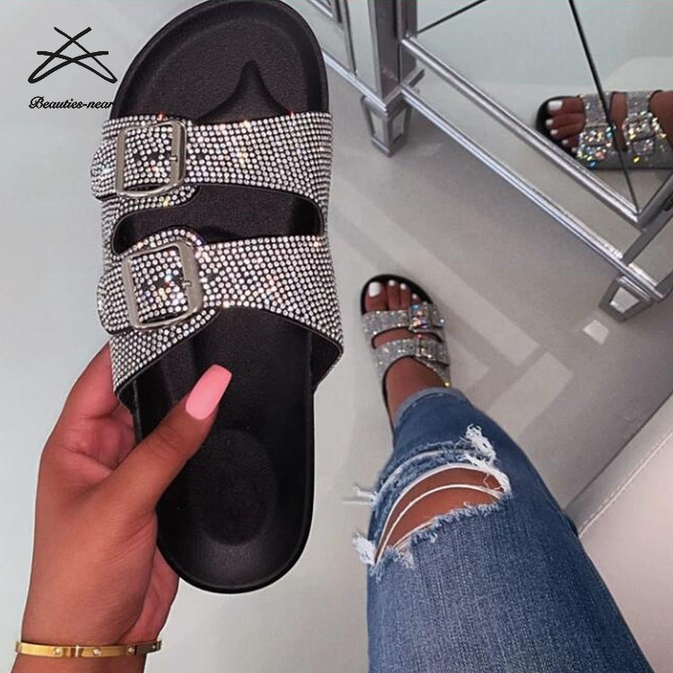 RTS Latest Design Diamond Fashion Custom Flat Slide <strong>Sandals</strong> For Women