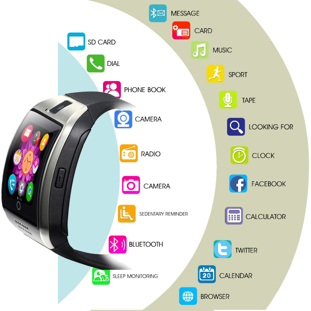 Wholesale Mobile Phone Smarth Smart watch Q18 Android Smart Watch with SIM Card and Camera VS A1 DZ09 U8 Y1
