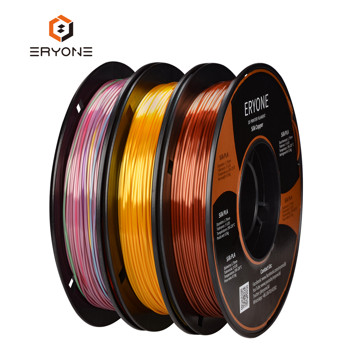 Eryone Silk Gold Copper Mini Rainbow PLA Filament Bundle 1.75mm 3 Spools/Pack Dimensional Accuracy 1.5kg  / pack