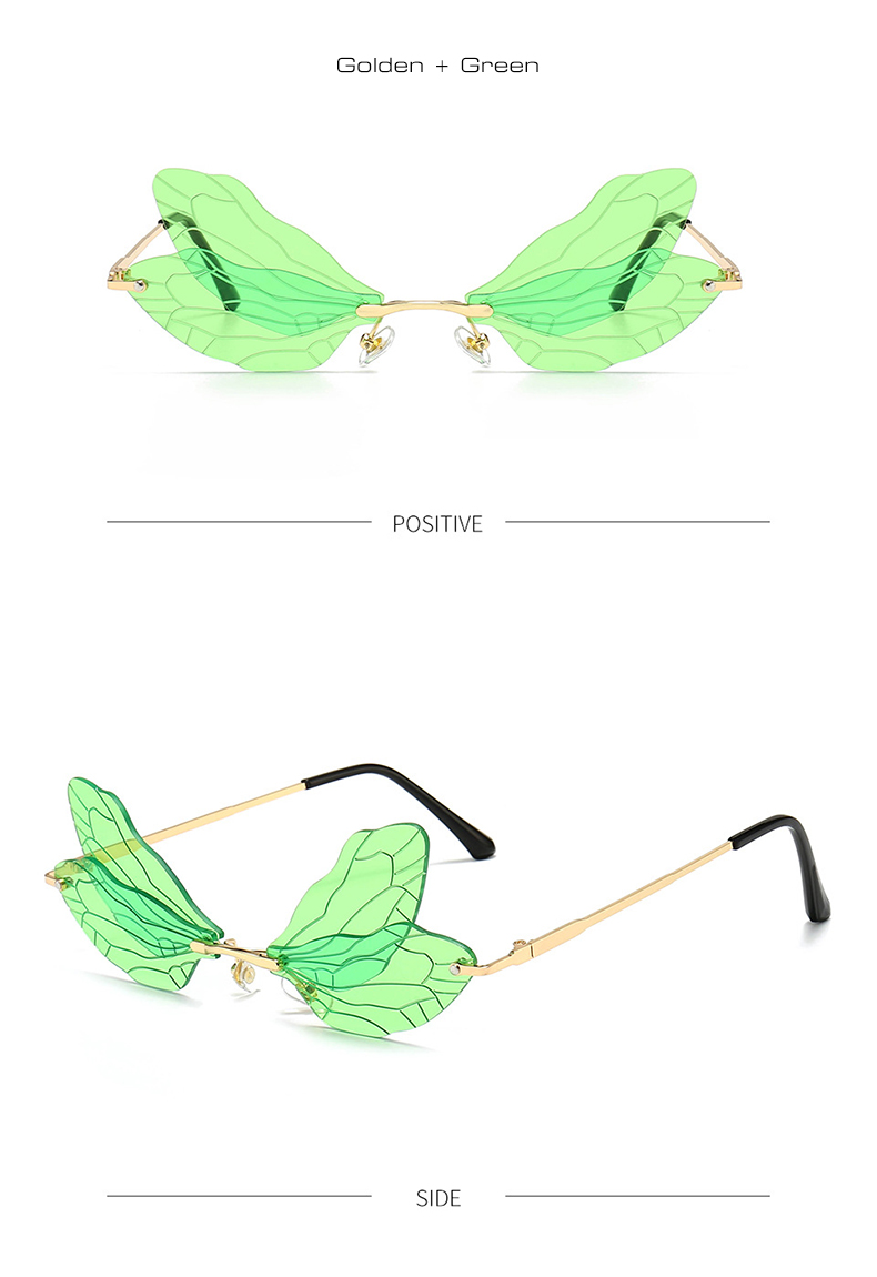 Fashion Rimless  Wing Sunglasses Women Vintage Clear Ocean Lens Eyewear Men Pink Yellow Sun Glasses Shades UV400