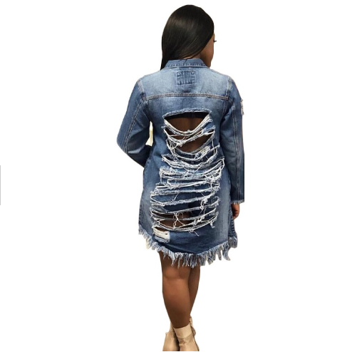 Wholesale Long Denim Jacket Woman Vintage torn jeans Coat Female Jean Outerwear Broken <strong>Hole</strong> Plus Size blue jean jacket