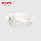 Food grade porcelain bakeware white oval ceramic baking tray with double ears