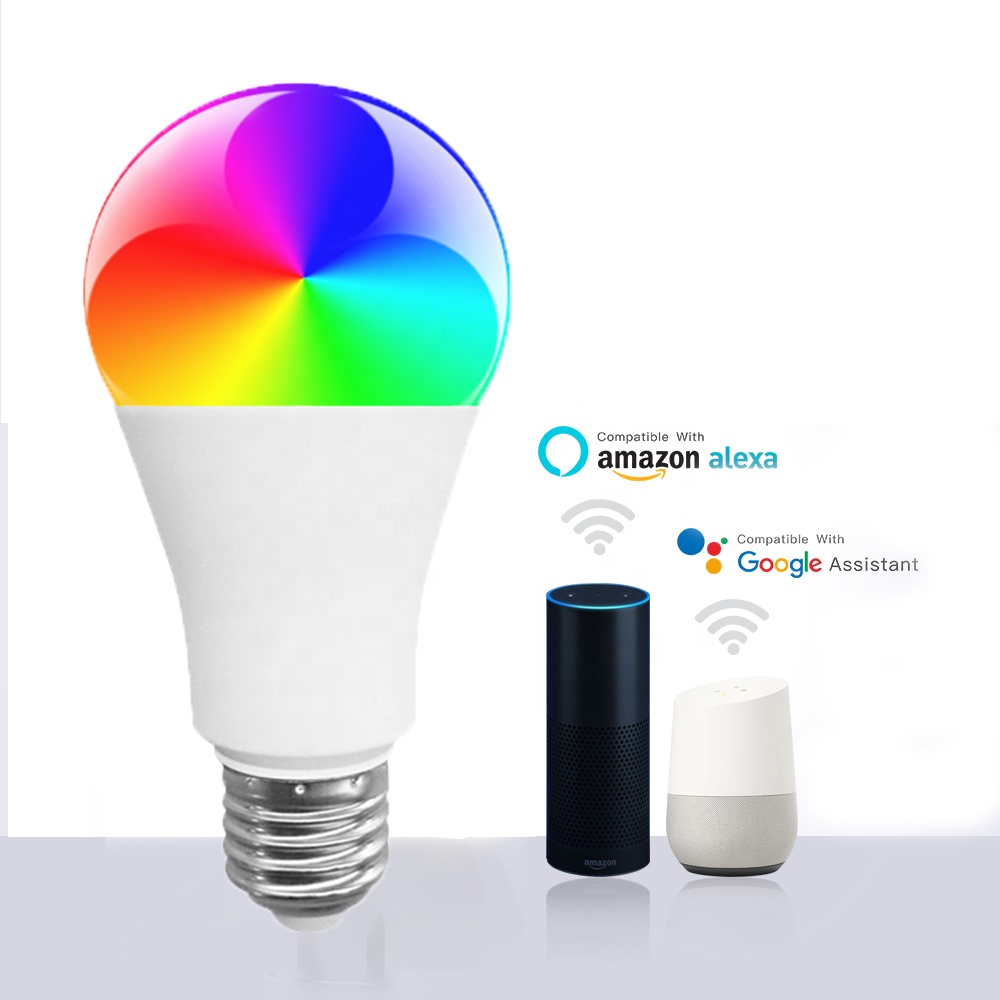 Amazon Supplier A60 <strong>LED</strong> WIFI <strong>Bulb</strong> Light Super Bright 2700-6500K Adjustable RGB 9W WiFi <strong>Smart</strong> <strong>Bulb</strong> Lights with Tuya Alexa Google