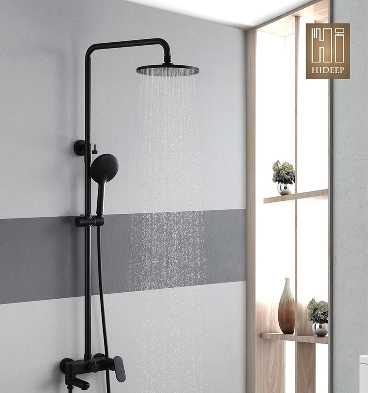 Modern bathroom shower set hot and cold brass mixer black shower faucet